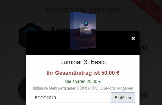 Luminar Rabattcode Gutscheincode sparen